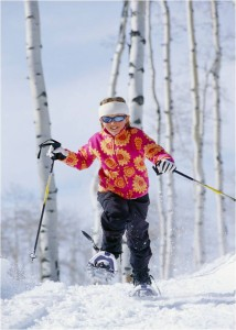 Physical activity  Girl snow shoeing