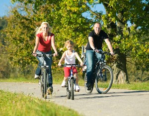 Physical activity  families biking