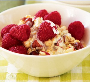Food - Breakfast - whole grain cereal fruit and nuts