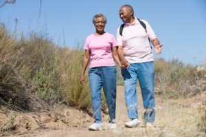 Senior couple on walk