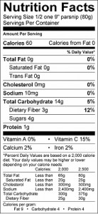 Food - Nutrition Facts Parsnip
