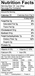 food - nutrition label cranberry