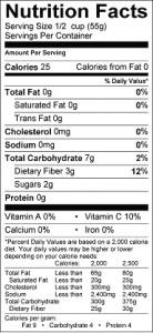 food - nutrition label cranberry