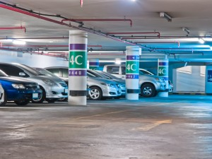 Bangkok, Thailand - April 07, The parking lot in underground on